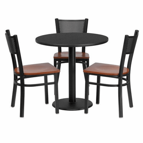 Flash Furniture 30'' Round Black Laminate Table Set with 3 Ladder Back Metal Bar Stools - Cherry Wood Seat Model MD-0007-GG