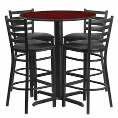 Flash Furniture 30'' Round Mahogany Laminate Table Set with 4 Ladder Back Metal Bar Stools - Black Vinyl Seat, Model HDBF1022-GG