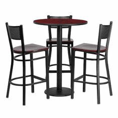 Flash Furniture 30'' Round Mahogany Laminate Table Set with 4 Ladder Back Metal Bar Stools - Black Vinyl Seat, Model MD-0017-GG