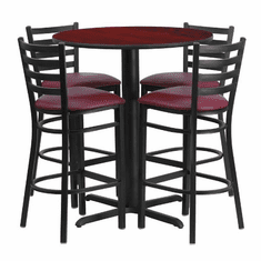 Flash Furniture 30'' Round Mahogany Laminate Table Set with 4 Ladder Back Metal Bar Stools - Burgundy Vinyl Seat, Model HDBF1026-GG