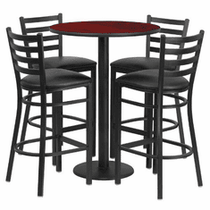 Flash Furniture 30'' Round Mahogany Laminate Table Set with 4 Ladder Back Metal Bar Stools - Burgundy Vinyl Seat, Model RSRB1022-GG