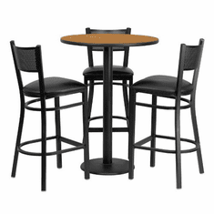 Flash Furniture 30'' Round Natural Laminate Table Set with 4 Ladder Back Metal Bar Stools - Black Vinyl Seat, Model MD-0016-GG
