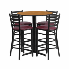 Flash Furniture 30'' Round Natural Laminate Table Set with 4 Ladder Back Metal Bar Stools - Burgundy Vinyl Seat, Model HDBF1027-GG