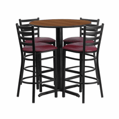 Flash Furniture 30'' Round Walnut Laminate Table Set with 4 Ladder Back Metal Bar Stools - Black Vinyl Seat, Model HDBF1024-GG