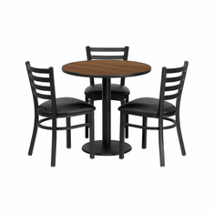 Flash Furniture 30'' Round Walnut Laminate Table Set with 4 Ladder Back Metal Bar Stools - Black Vinyl Seat, Model MD-0002-GG