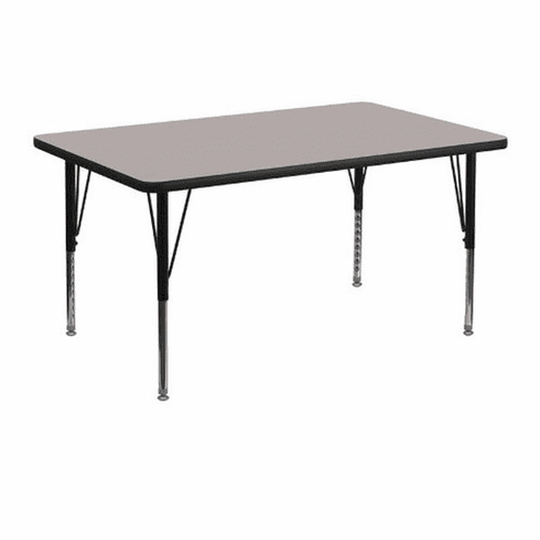 Flash Furniture 30''W x 48''L Rectangular Activity Table with 1.25'' Thick High Pressure Grey Laminate Top and Height Adjustable Pre-School Legs Model XU-A3048-REC-GY-H-P-GG