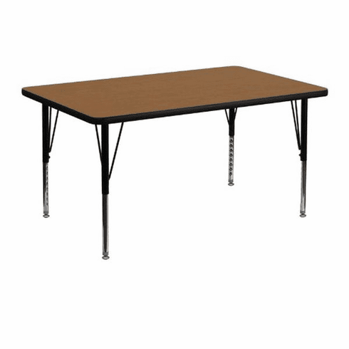 Flash Furniture 30''W x 48''L Rectangular Activity Table with Oak Thermal Fused Laminate Top and Height Adjustable Pre-School Legs Model XU-A3048-REC-OAK-T-P-GG