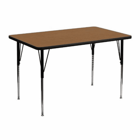 Flash Furniture 30''W x 48''L Rectangular Activity Table with Oak Thermal Fused Laminate Top and Standard Height Adjustable Legs Model XU-A3048-REC-OAK-T-A-GG