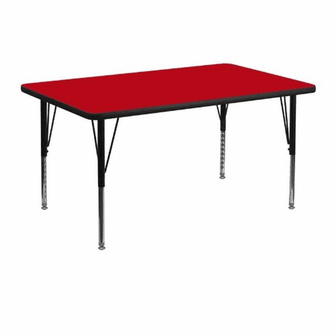 Flash Furniture 30''W x 48''L Rectangular Activity Table with Red Thermal Fused Laminate Top and Height Adjustable Pre-School Legs Model XU-A3048-REC-RED-T-P-GG