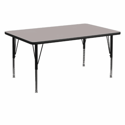 Flash Furniture 30''W x 60''L Rectangular Activity Table with 1.25'' Thick High Pressure Grey Laminate Top and Height Adjustable Pre-School Legs Model XU-A3060-REC-GY-H-P-GG