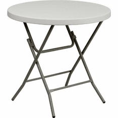 Flash Furniture 32'' Round Granite White Plastic Folding Table, Model RB-32R-GW-GG