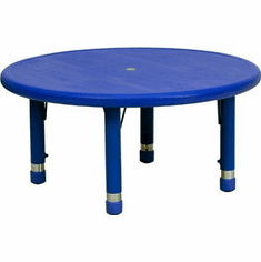 Flash Furniture 33'' Round Height Adjustable Blue Plastic Activity Table Model YU-YCX-007-2-ROUND-TBL-BLUE-GG