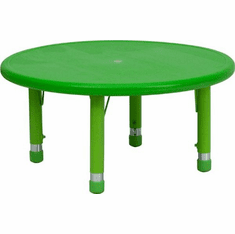 Flash Furniture 33'' Round Height Adjustable Green Plastic Activity Table Model YU-YCX-007-2-ROUND-TBL-GREEN-GG