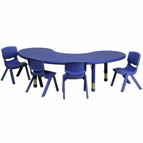 Flash Furniture 35''W x 65''L Adjustable Half-Moon Blue Plastic Activity Table Set with 4 School Stack Chairs Model YU-YCX-0043-2-MOON-TBL-BLUE-E-GG
