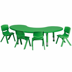 Flash Furniture 35''W x 65''L Adjustable Half-Moon Green Plastic Activity Table Set with 4 School Stack Chairs Model YU-YCX-0043-2-MOON-TBL-GREEN-E-GG