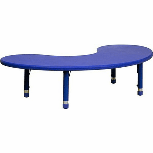 Flash Furniture 35''W x 65''L Height Adjustable Half-Moon Blue Plastic Activity Table Model YU-YCX-004-2-MOON-TBL-BLUE-GG