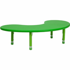 Flash Furniture 35''W x 65''L Height Adjustable Half-Moon Green Plastic Activity Table Model YU-YCX-004-2-MOON-TBL-GREEN-GG