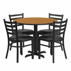 Flash Furniture 36'' Round Natural Laminate Table Set with 4 Ladder Back Metal Chairs - Black Vinyl Seat, Model HDBF1031-GG