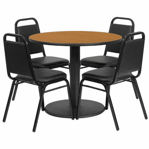 Flash Furniture 36'' Round Natural Laminate Table Set with 4 Ladder Back Metal Chairs - Black Vinyl Seat, Model RSRB1003-GG