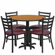 Flash Furniture 36'' Round Natural Laminate Table Set with 4 Ladder Back Metal Chairs - Burgundy Vinyl Seat, Model HDBF1007-GG