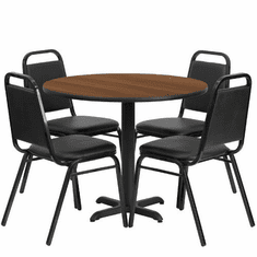 Flash Furniture 36'' Round Walnut Laminate Table Set with 4 Black Trapezoidal Back Banquet Chairs, Model HDBF1004-GG
