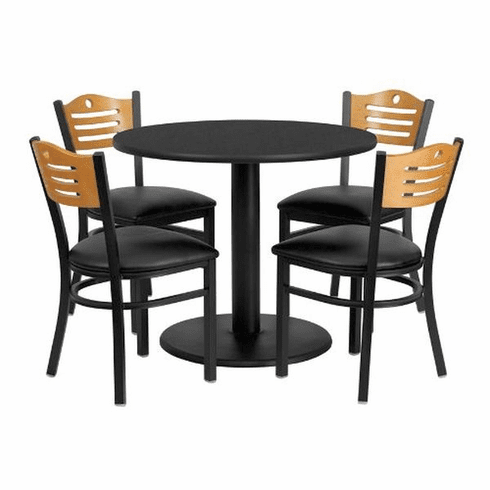 Flash Furniture 36'' Round Walnut Laminate Table Set with 4 Ladder Back Metal Bar Stools - Black Vinyl Seat Model MD-0009-GG