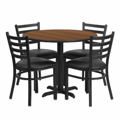 Flash Furniture 36'' Round Walnut Laminate Table Set with 4 Ladder Back Metal Chairs - Black Vinyl Seat, Model HDBF1032-GG