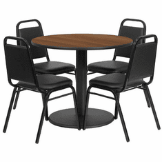 Flash Furniture 36'' Round Walnut Laminate Table Set with 4 Ladder Back Metal Chairs - Black Vinyl Seat, Model RSRB1004-GG