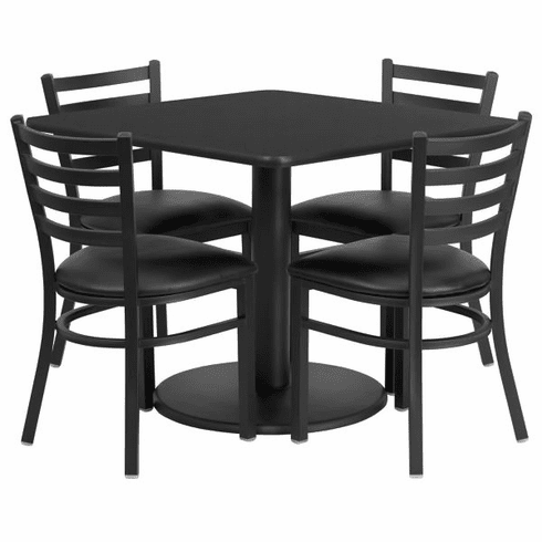 Flash Furniture 36'' Square Mahogany Laminate Table Set with 4 Black Trapezoidal Back Banquet Chairs, Model RSRB1013-GG
