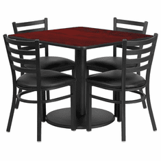 Flash Furniture 36'' Square Natural Laminate Table Set with 4 Black Trapezoidal Back Banquet Chairs, Model RSRB1014-GG