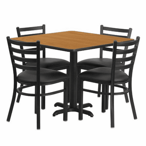 Flash Furniture 36'' Square Natural Laminate Table Set with 4 Ladder Back Metal Chairs - Black Vinyl Seat, Model HDBF1015-GG