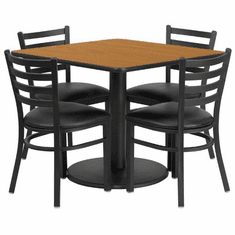 Flash Furniture 36'' Square Walnut Laminate Table Set with 4 Black Trapezoidal Back Banquet Chairs, Model RSRB1015-GG