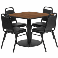Flash Furniture 36'' Square Walnut Laminate Table Set with 4 Grid Back Metal Bar Stools - Black Vinyl Seat Model RSRB1012-GG