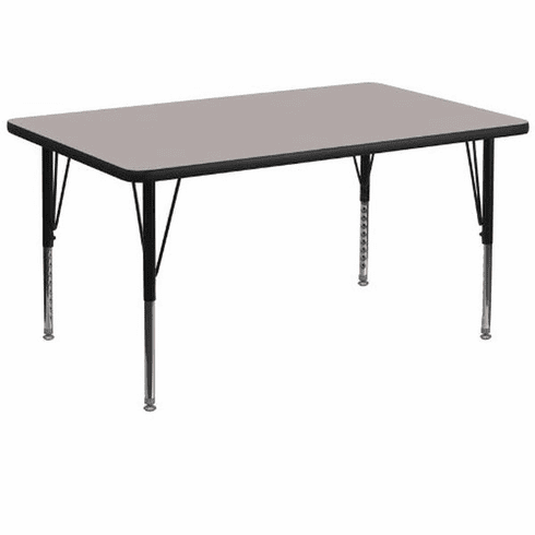 Flash Furniture 36''W x 72''L Rectangular Activity Table with 1.25'' Thick High Pressure Grey Laminate Top and Height Adjustable Pre-School Legs Model XU-A3672-REC-GY-H-P-GG