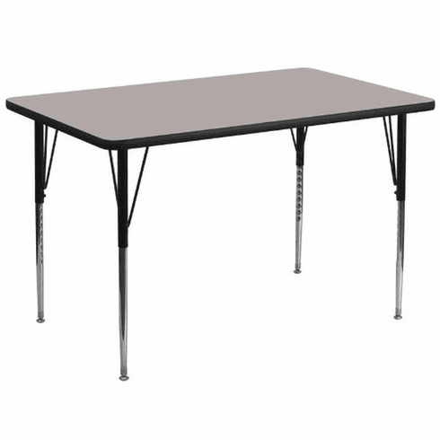 Flash Furniture 36''W x 72''L Rectangular Activity Table with 1.25'' Thick High Pressure Grey Laminate Top and Standard Height Adjustable Legs Model XU-A3672-REC-GY-H-A-GG