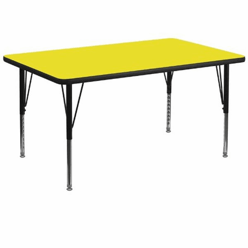 Flash Furniture 36''W x 72''L Rectangular Activity Table with 1.25'' Thick High Pressure Yellow Laminate Top and Standard Height Adjustable Legs Model XU-A3672-REC-YEL-H-A-GG