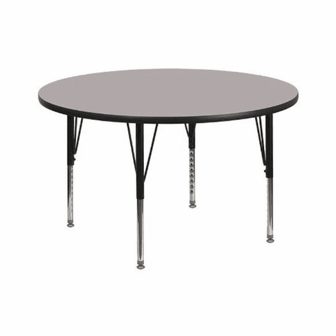 Flash Furniture 42'' Round Activity Table with 1.25'' Thick High Pressure Grey Laminate Top and Height Adjustable Pre-School Legs Model XU-A42-RND-GY-H-P-GG