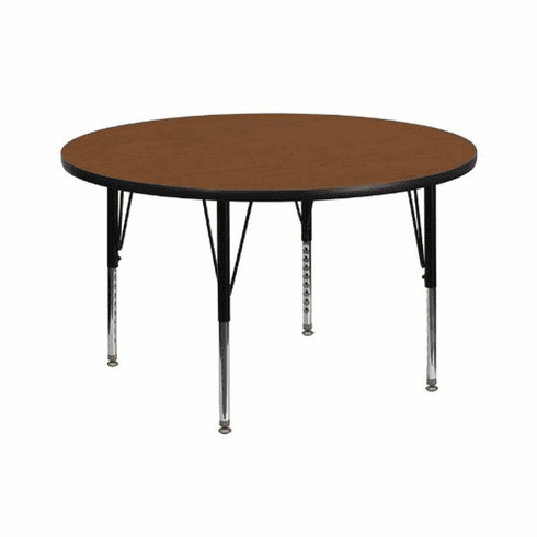 Flash Furniture 42'' Round Activity Table with 1.25'' Thick High Pressure Oak Laminate Top and Height Adjustable Pre-School Legs Model XU-A42-RND-OAK-H-P-GG