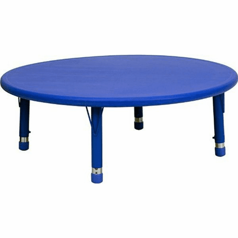 Flash Furniture 45'' Round Height Adjustable Blue Plastic Activity Table Model YU-YCX-005-2-ROUND-TBL-BLUE-GG