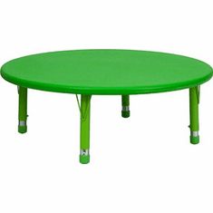 Flash Furniture 45'' Round Height Adjustable Green Plastic Activity Table Model YU-YCX-005-2-ROUND-TBL-GREEN-GG