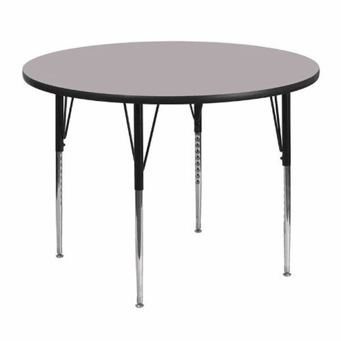 Flash Furniture 48'' Round Activity Table with Grey Thermal Fused Laminate Top and Standard Height Adjustable Legs Model XU-A48-RND-GY-T-A-GG