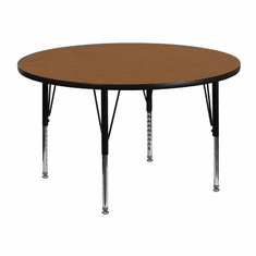 Flash Furniture 48'' Round Activity Table with Oak Thermal Fused Laminate Top and Height Adjustable Pre-School Legs Model XU-A48-RND-OAK-T-P-GG