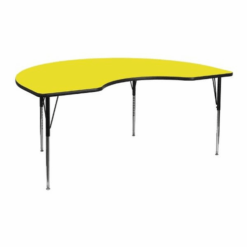 Flash Furniture 48''W x 72''L Kidney Shaped Activity Table with 1.25'' Thick High Pressure Yellow Laminate Top and Height Adjustable Pre-School Legs Model XU-A4872-KIDNY-YEL-H-P-GG