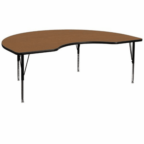 Flash Furniture 48''W x 96''L Kidney Shaped Activity Table with 1.25'' Thick High Pressure Oak Laminate Top and Height Adjustable Pre-School Legs Model XU-A4896-KIDNY-OAK-H-P-GG