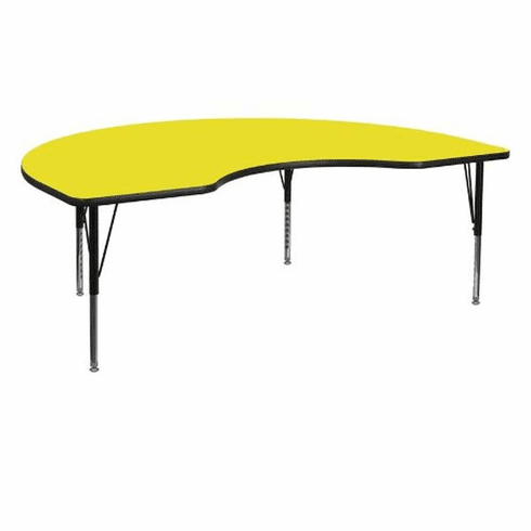 Flash Furniture 48''W x 96''L Kidney Shaped Activity Table with 1.25'' Thick High Pressure Yellow Laminate Top and Standard Height Adjustable Legs Model XU-A4896-KIDNY-YEL-H-A-GG