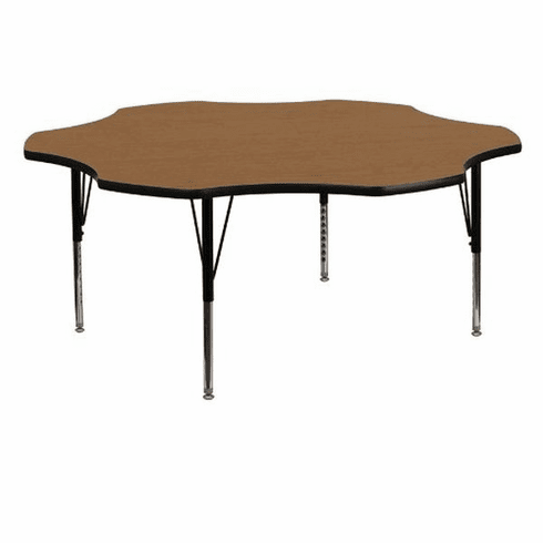 Flash Furniture 60'' Flower Shaped Activity Table with Oak Thermal Fused Laminate Top and Height Adjustable Pre-School Legs Model XU-A60-FLR-OAK-T-P-GG