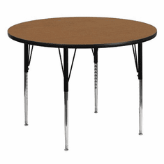 Flash Furniture 60'' Round Activity Table with Oak Thermal Fused Laminate Top and Standard Height Adjustable Legs Model XU-A60-RND-OAK-T-A-GG