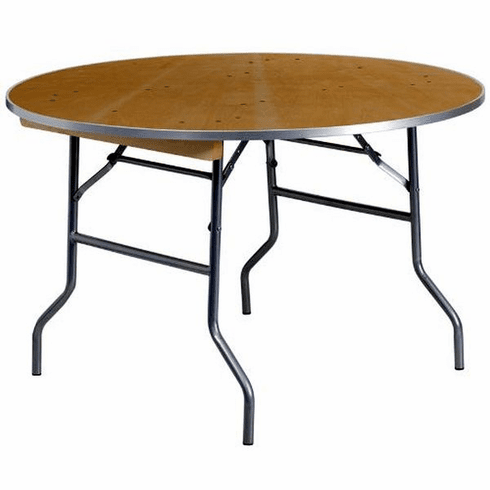Flash Furniture 60'' Round HEAVY DUTY Birchwood Folding Banquet Table with METAL Edges Model XA-48-BIRCH-M-GG