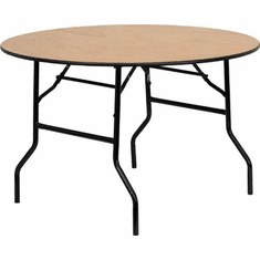 Flash Furniture 60'' Round Wood Folding Banquet Table with Clear Coated Finished Top Model YT-WRFT48-TBL-GG