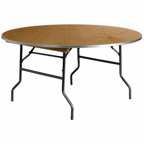 Flash Furniture 72'' Round HEAVY DUTY Birchwood Folding Banquet Table with METAL Edges Model XA-60-BIRCH-M-GG